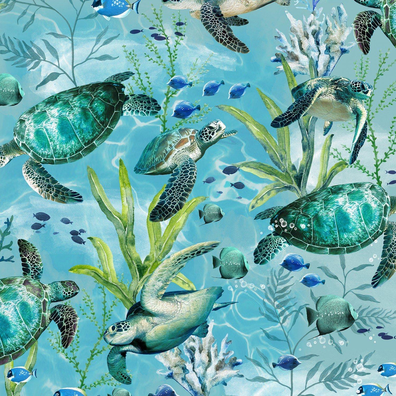 Swimming Sea Turtles C7955 Blue