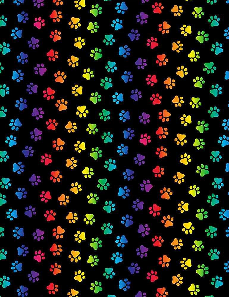 Neon Cats Paws C8586 Black/Multi