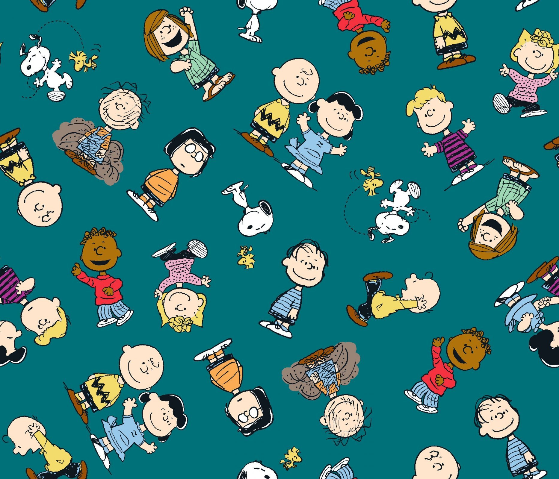 Charlie Brown Peanuts 68129 Gangs All Here Teal