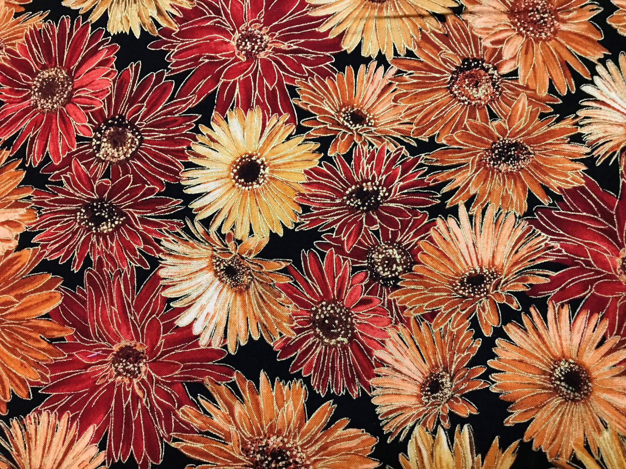 Fall Harvest Flowers on black CM2093