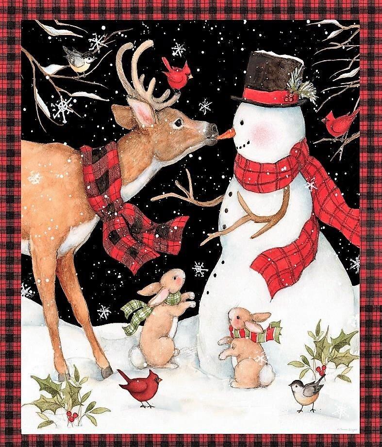 Winter Reindeer & Snowman 66702 Panel