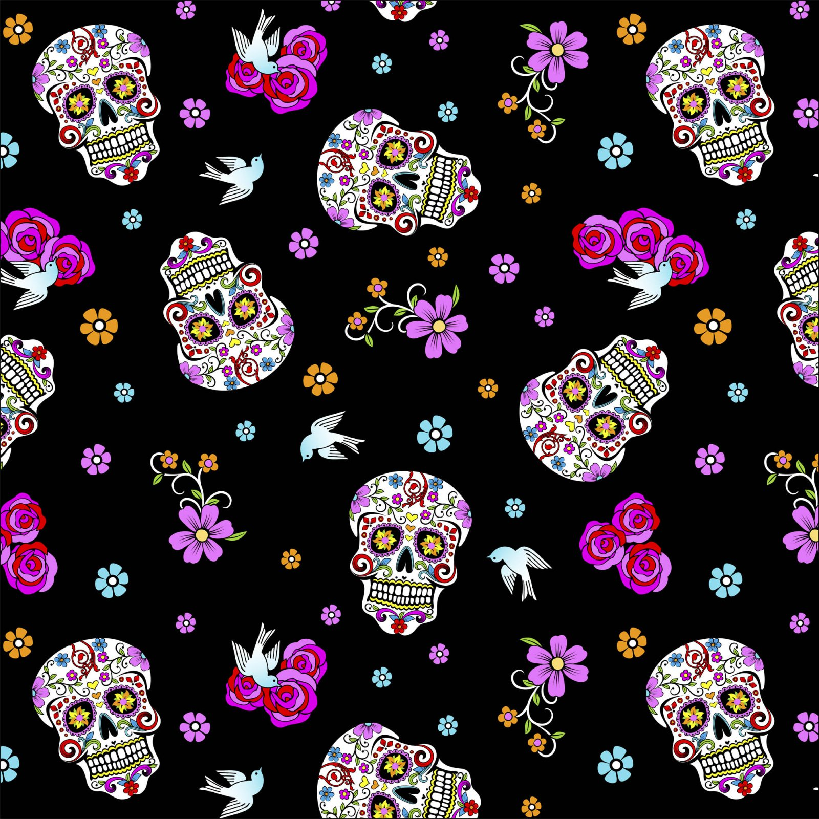 Day of the Dead Skulls 5195 Black with Glitter