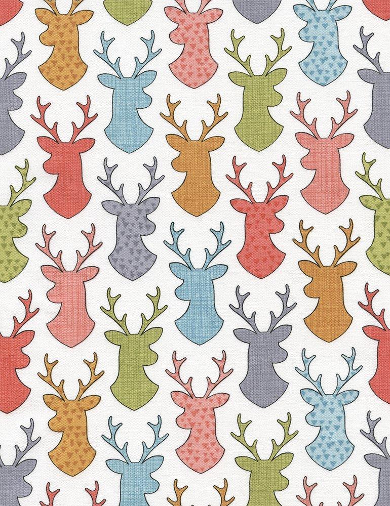 Deer Head Silhouettes White C4446