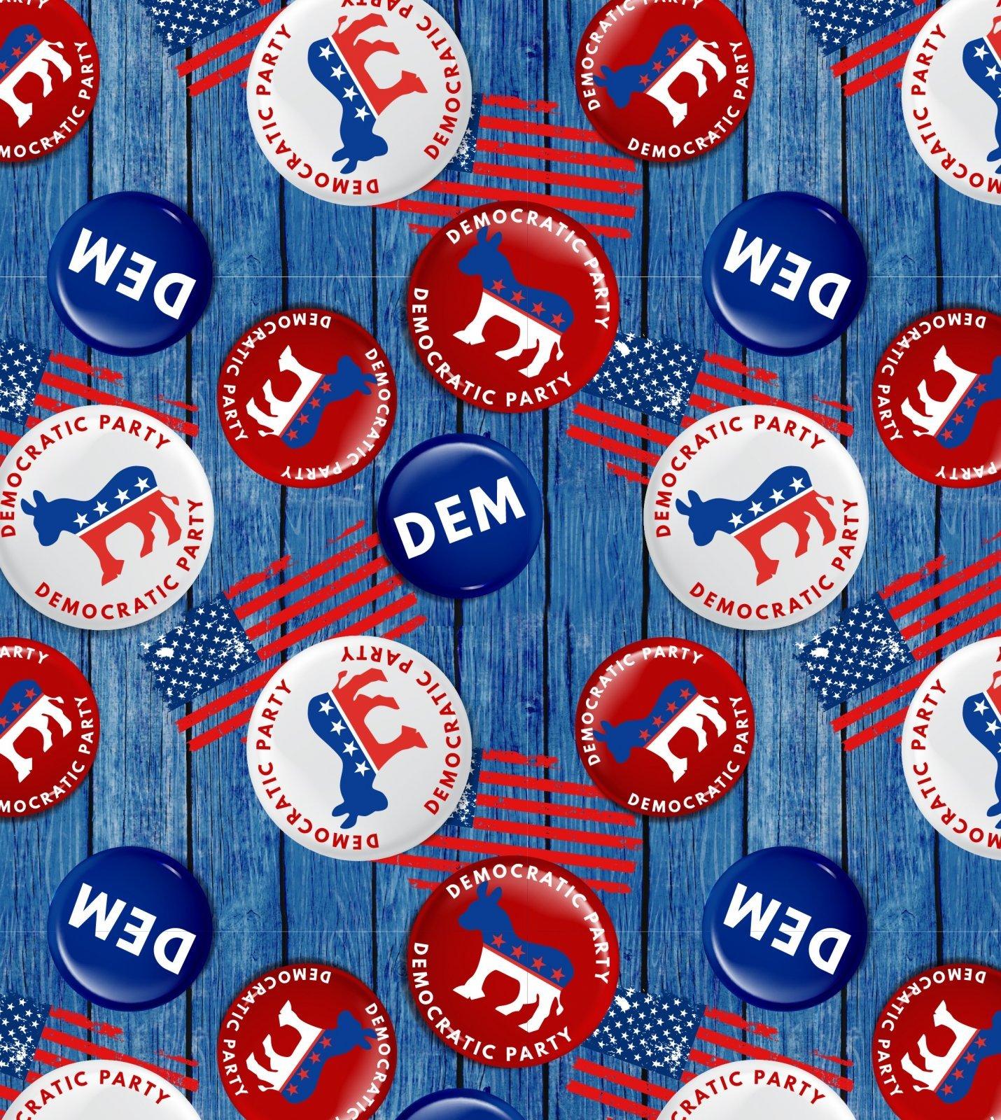 American Democrat Buttons 2074 Blue