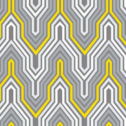 END OF BOLT Design Studio Yellow & Gray Fretwork 2140504-2 - .67 YD