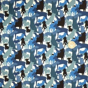 Dog Silhouettes Blue 453