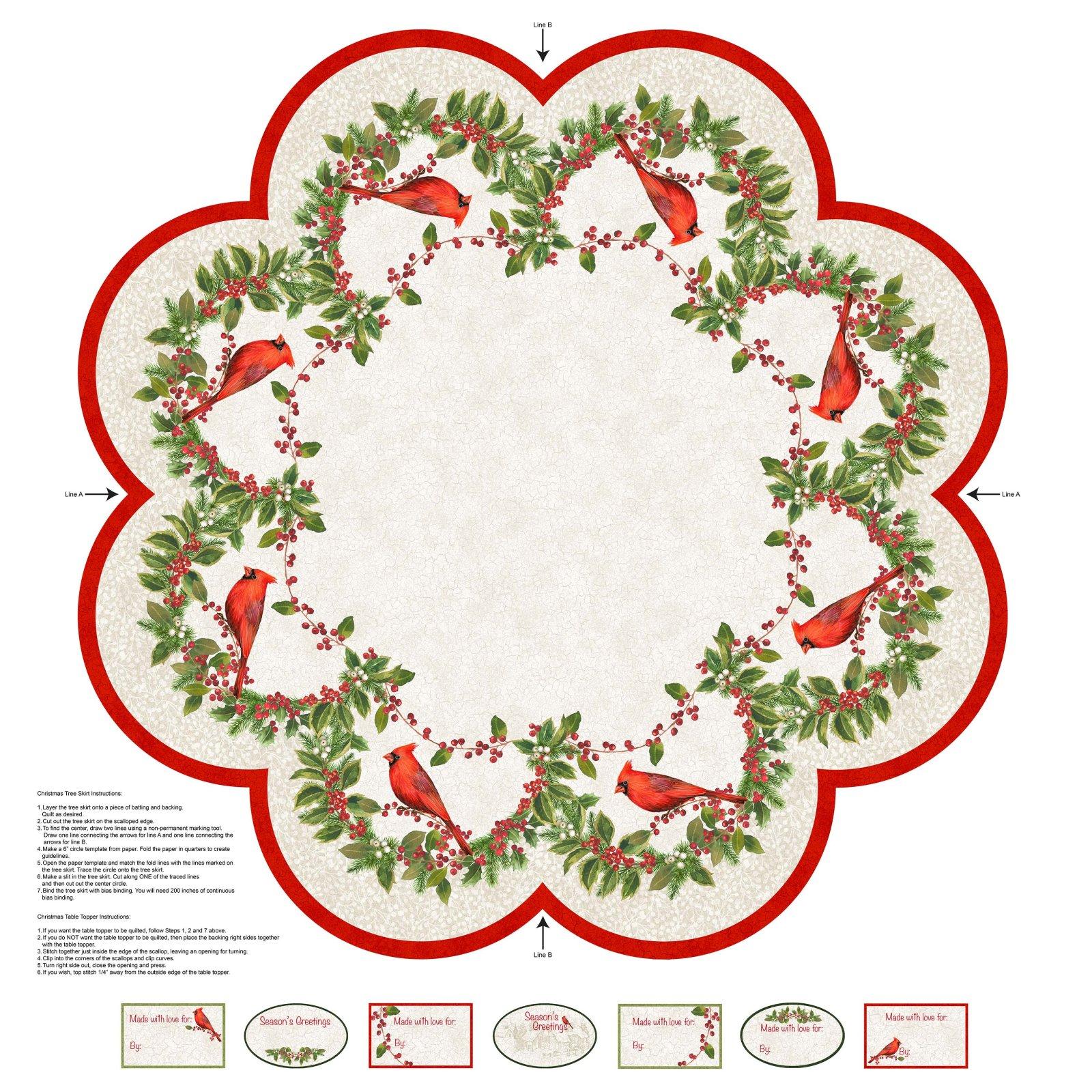 Cardinal Woods 22843-11 Tree Skirt 43 Panel