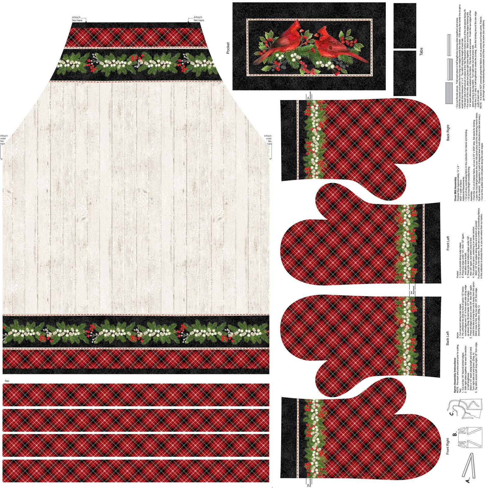 Cardinal Woods 22845-11 Apron & Oven Mitts 43 Panel