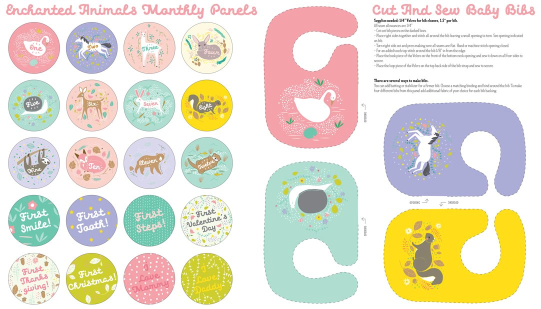 Enchanted 48250-11 Monthly & Bib Animal Panel