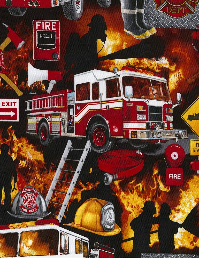 Fire C5501 Firefighter Collage Black