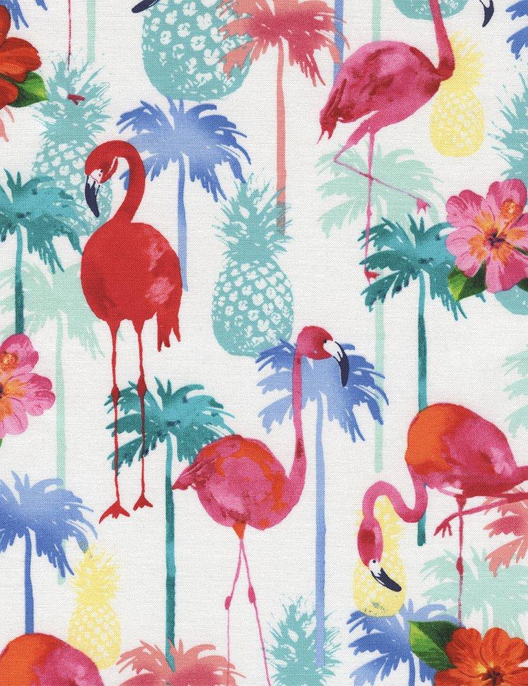 Flamingos & Pineapples C4749 White