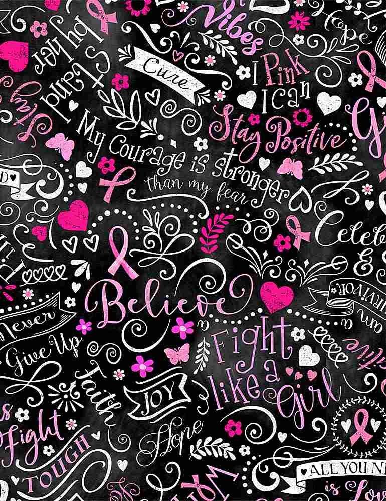 Breast Cancer Ribbon C8408 Chalkboard Fight Like a Girl Black
