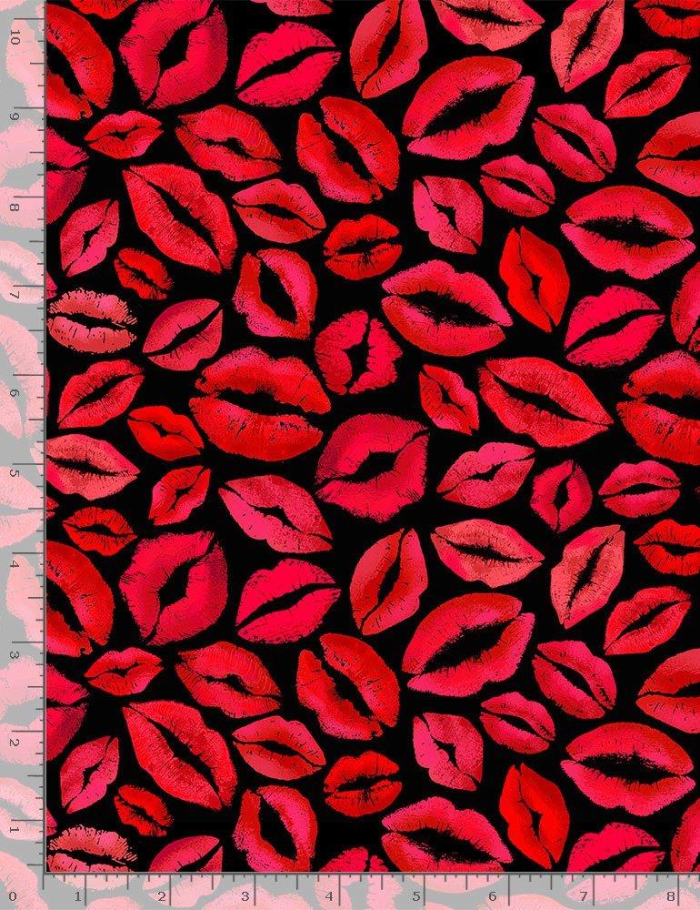 Red Lips & Kisses C8536 Black