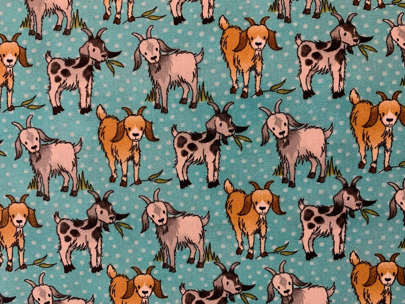 END OF BOLT - Happy Goats 16016 Turquoise .5 YD