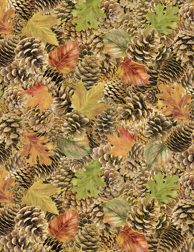 Fall Pine Cones & Leaves CM6393