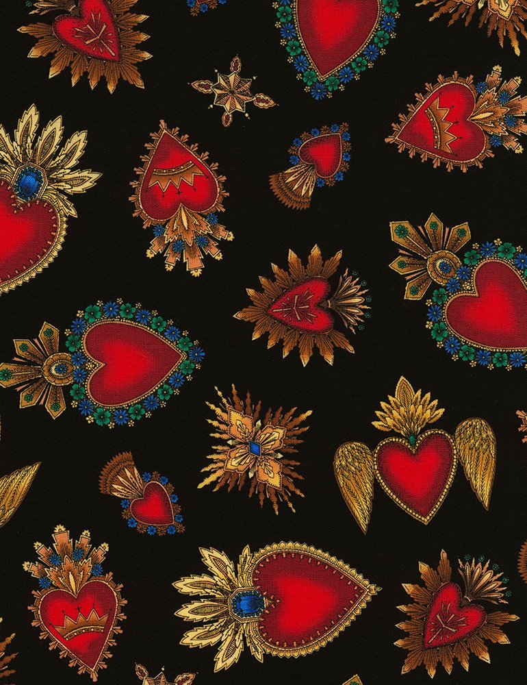 Day of the Dead Hearts C6620 Black