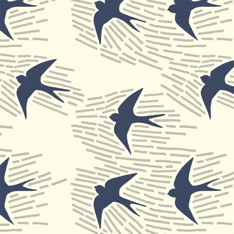 CANVAS- Whitehaven Navy Sparrow 203502 Cream