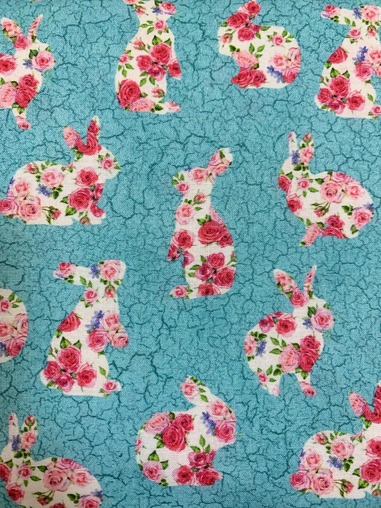 Bunny Love 22767-62 Floral Silhouettes Turq