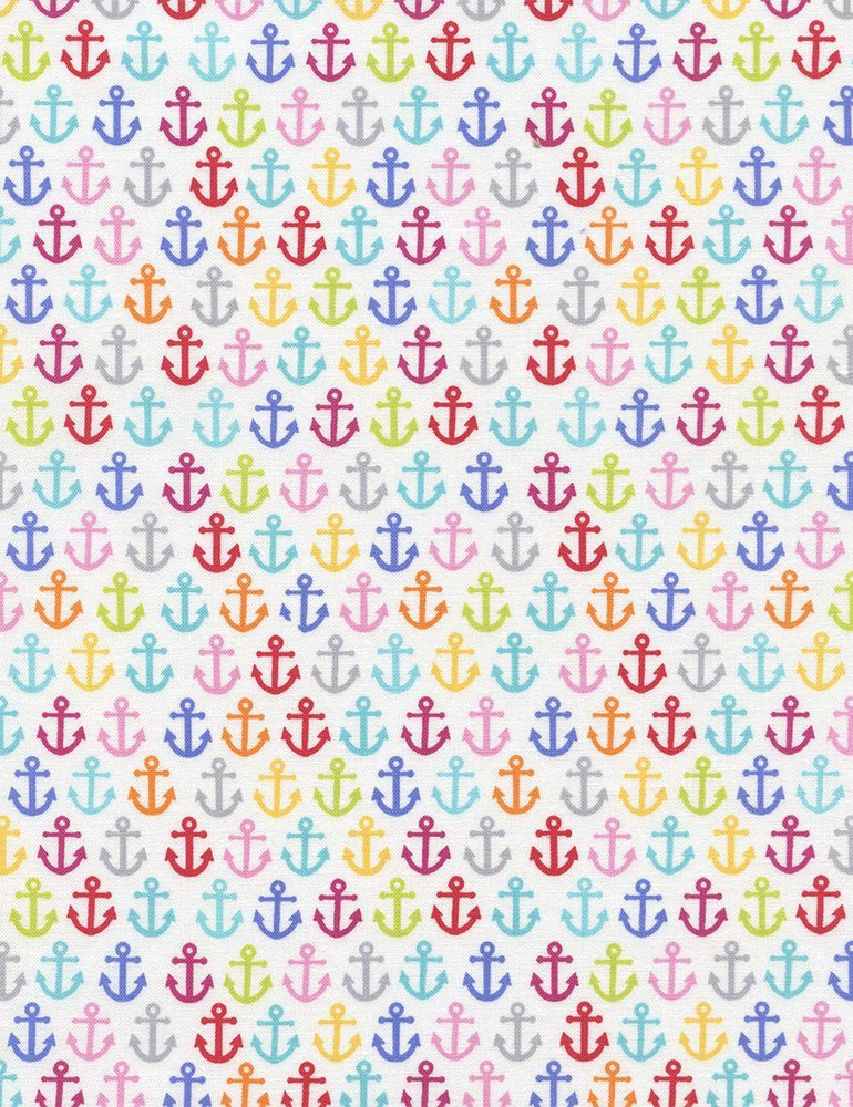 Colorful Anchors on White C4148