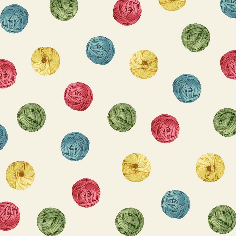 Knit N Purl 51608-2 Yarn Ball Dots Cream