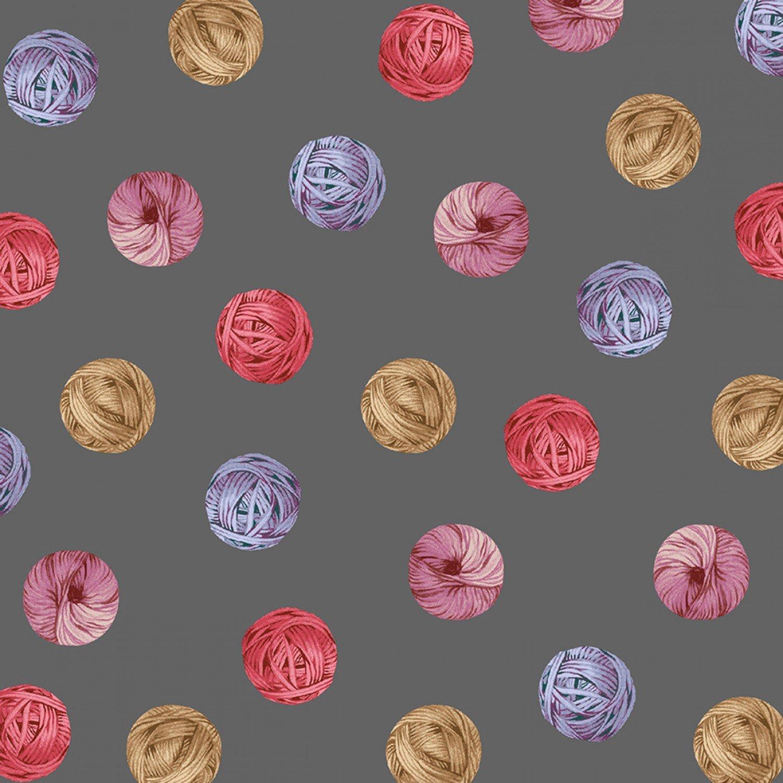 Knit N Purl 51608-3 Yarn Ball Dots Charcoal