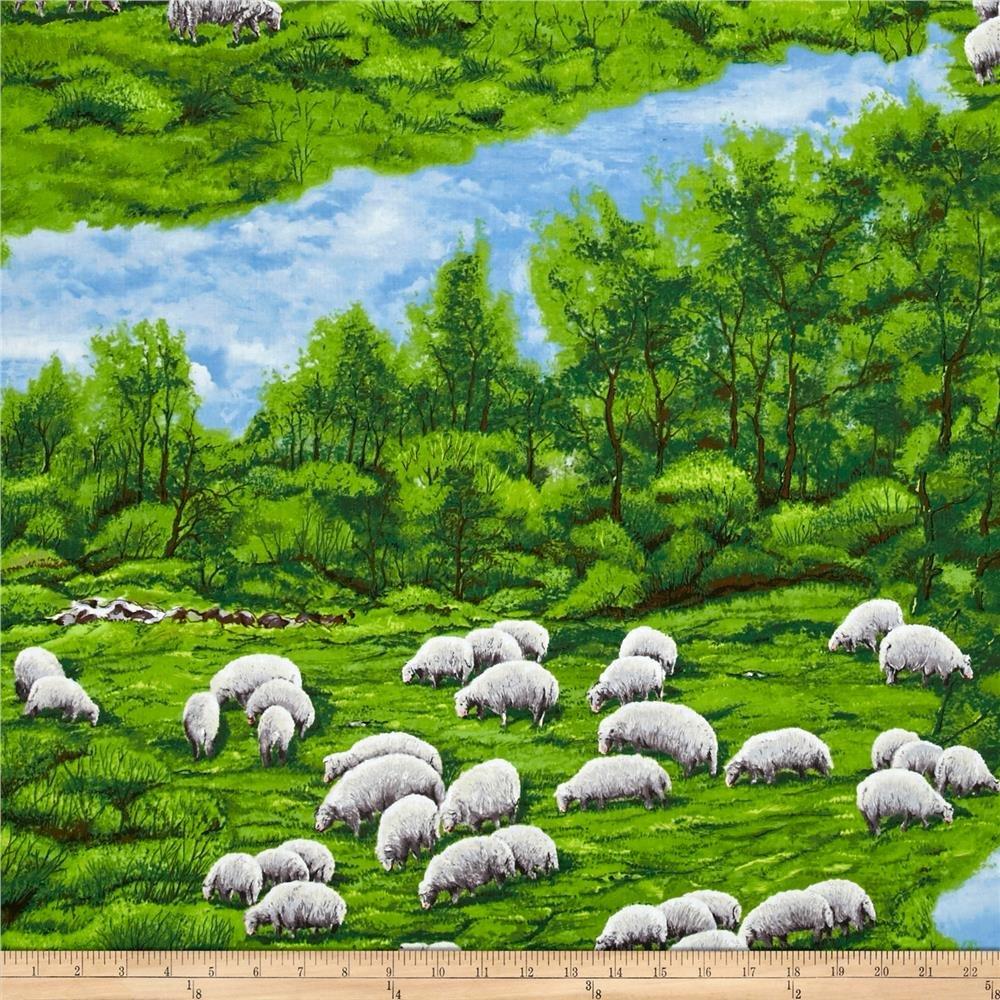Lamb & Sheep Meadow 61322-6 Green