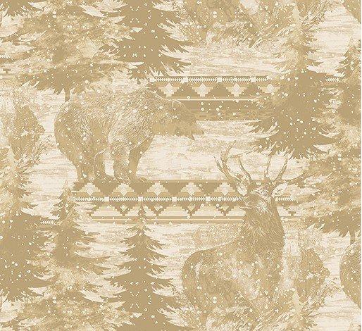 Wilderness Lodge 1470-70 Elk & Bear Silhouettes Cream
