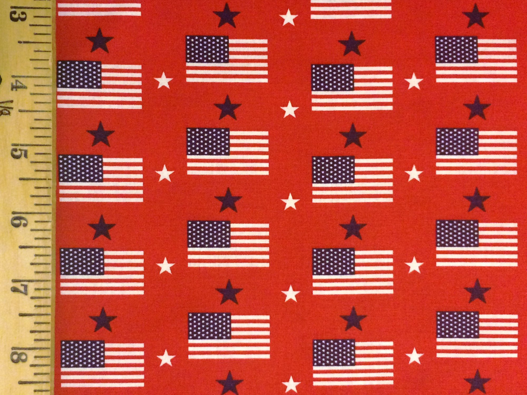 Made in USA Flags on Red 48482