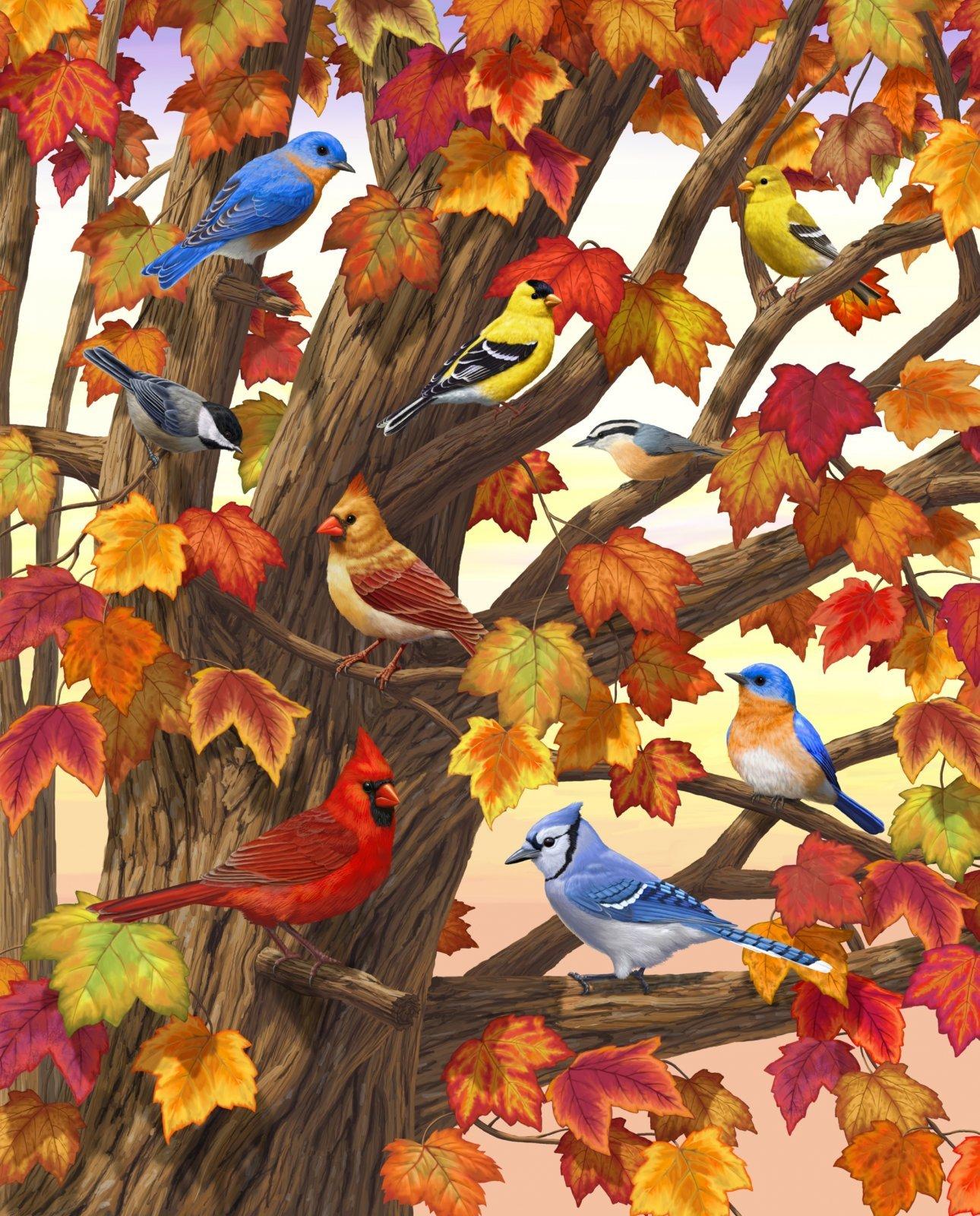 Maple Tree Marvel Bird 3968 Panel