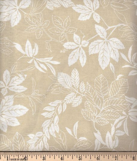 Modern Leaf White on Beige 2872-40