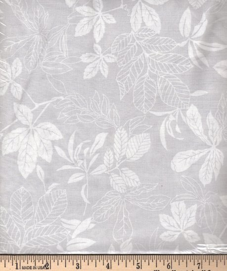 Modern Leaf White on Silver 2872-909