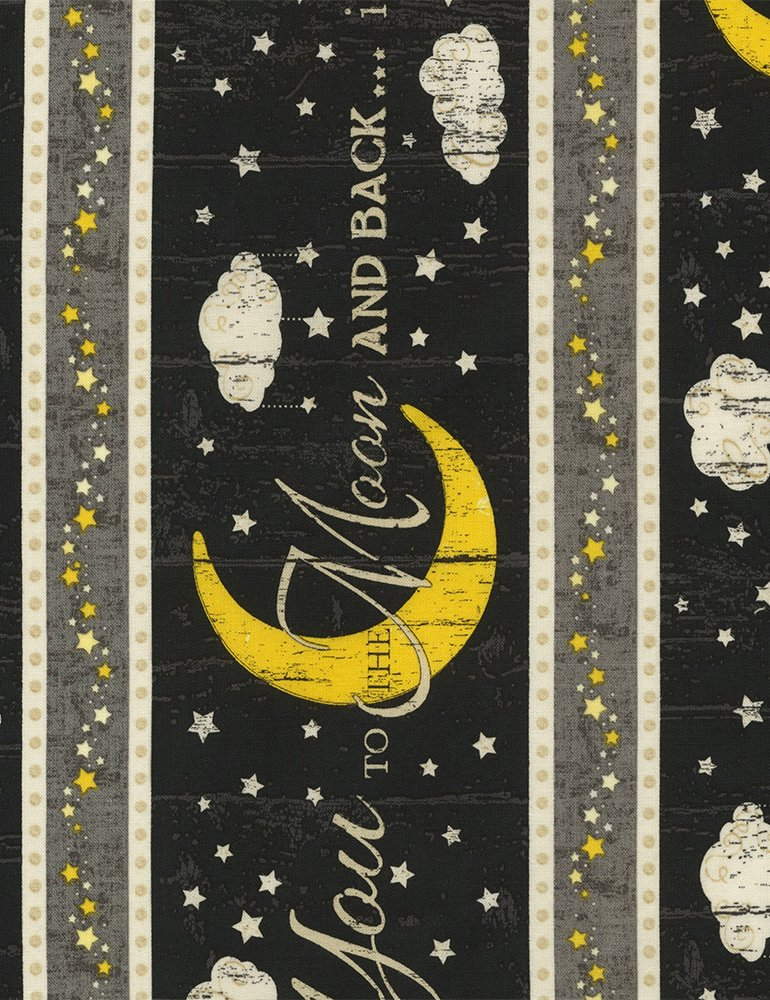 END OF BOLT I Love You to the Moon Border Stripe C5531 - .92 YD