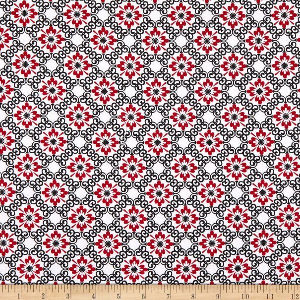 Moroccan Small Flower 9283-89 Red/Black