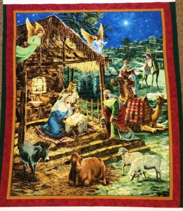 O Holy Night Christian Nativity 23301-X Panel