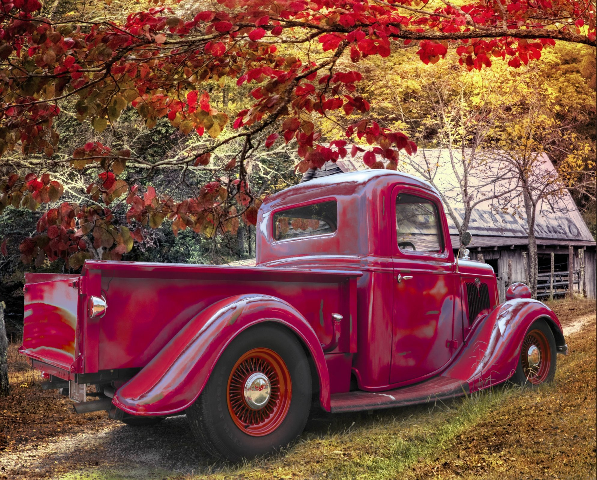 Old Red Truck Autumn Farm 3977 Panel