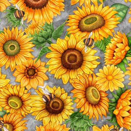 Always Face Sunshine Packed Sunflowers 27844-K Gray