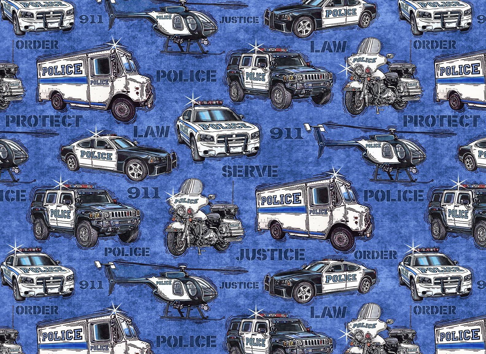 Protect & Serve 26127-B Vehicles on Blue