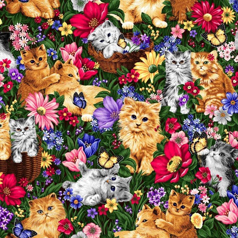 Kittens in Flowers 3921 Multi
