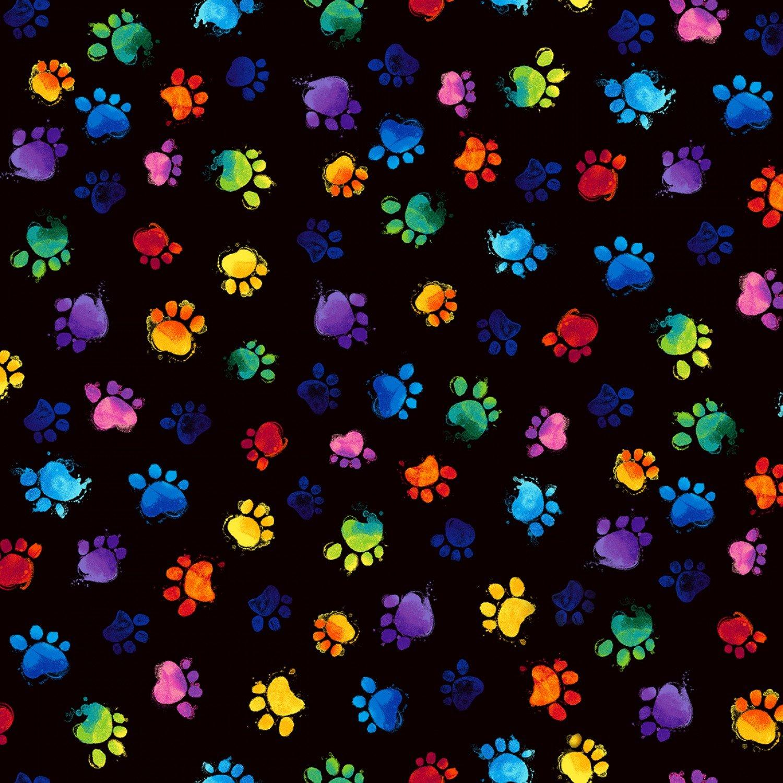 Rainbow Cats C7487 Paw Prints Black