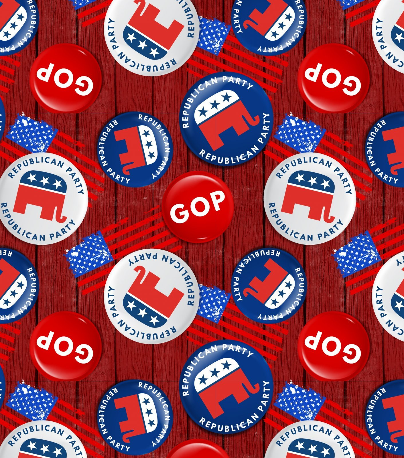 American Republican GOP Buttons 2075 Red