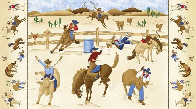 Rodeo Roundup Horse Barrel Racing 4855-44 Panel