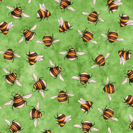 Always Face Sunshine Scattered Bees 27847-H Green