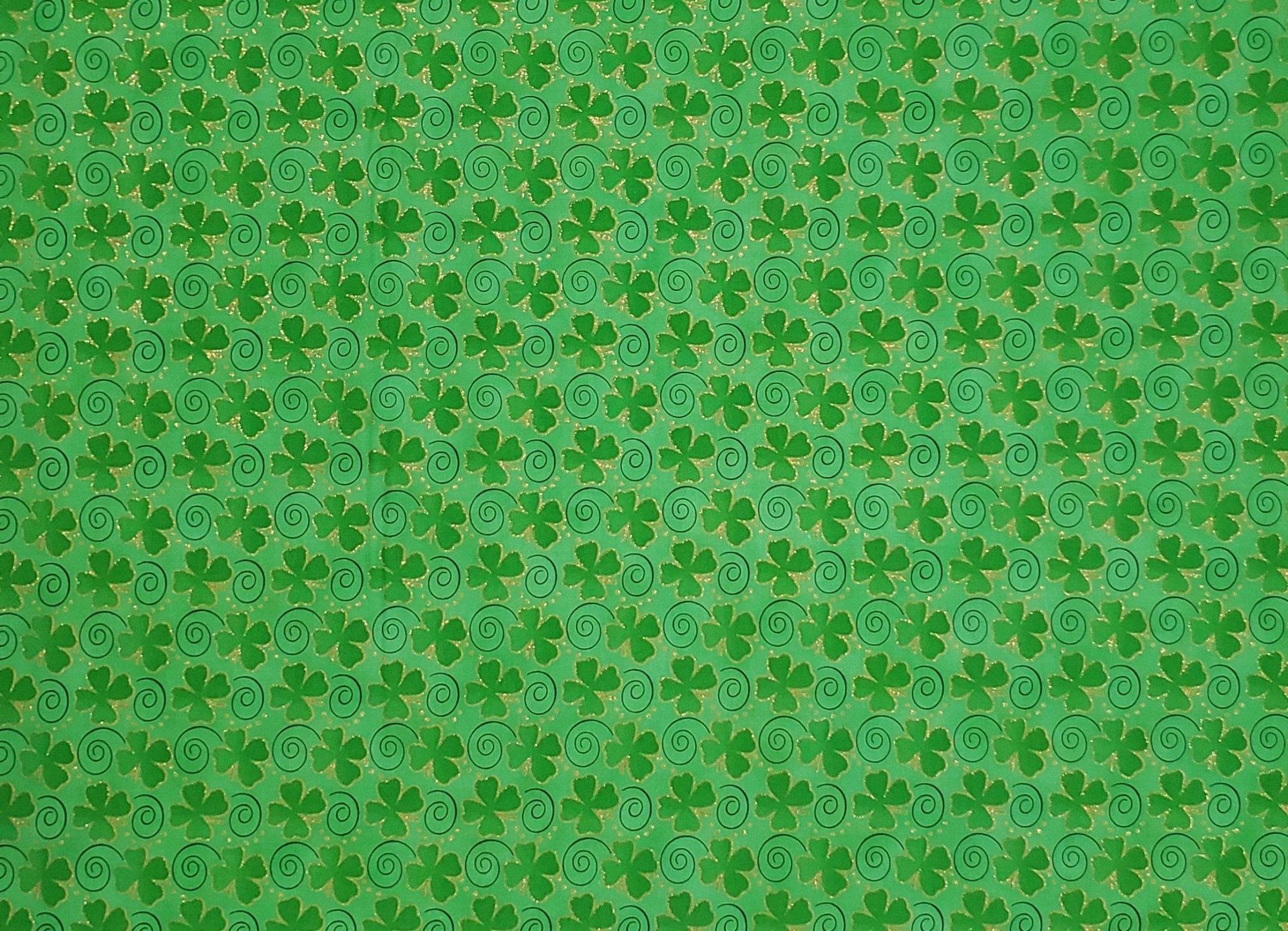 Tossed Glitter Shamrocks 9916 Swirl Green