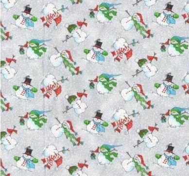 Christmas Snowmen 8094 Gray Glitter