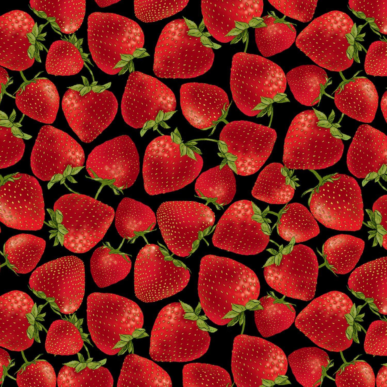 *EOB* Strawberry C7347 Black - 0.51 YD