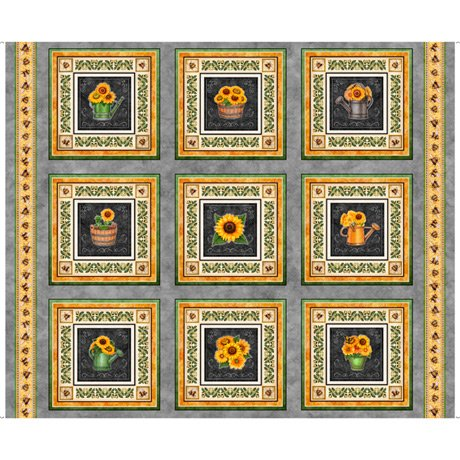Always Face Sunshine Sunflower Patches 27843-K Panel