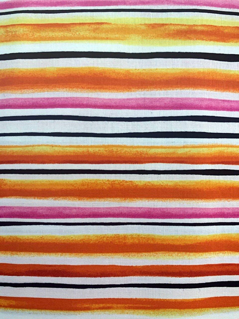 Sunset Stripe 3359 Black, Pink, Orange