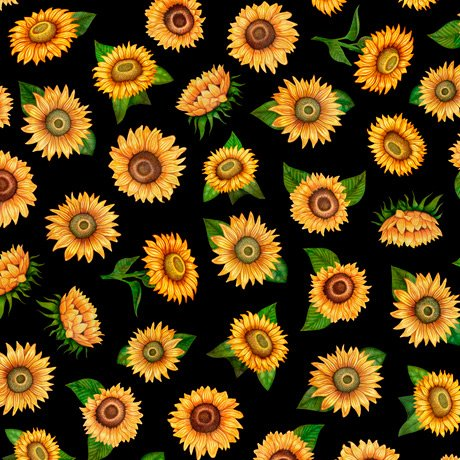 Always Face Sunshine Tossed Sunflowers 27846-J Black