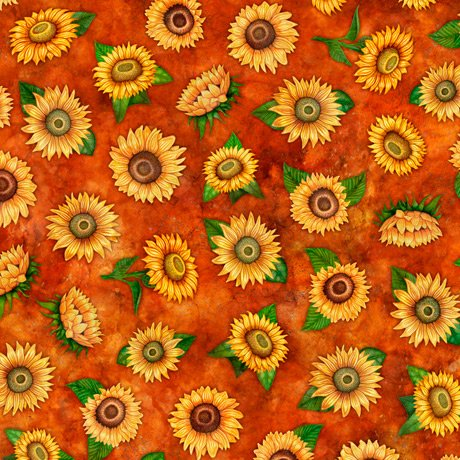 Always Face Sunshine Tossed Sunflowers 27846-T Rust
