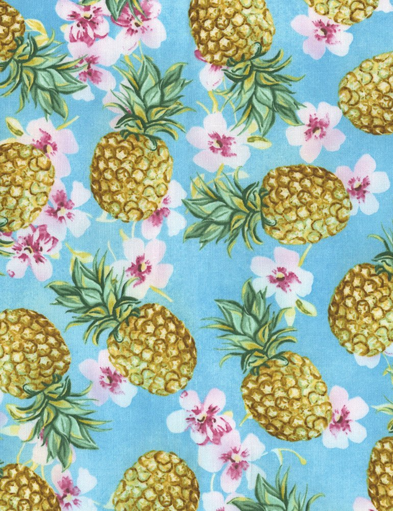 Tropical C5743 Pineapples Blue